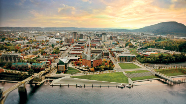 Chattanooga Tennessee from above the Tennessee River